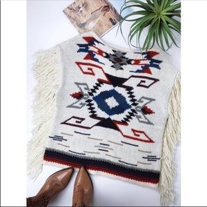 Ralph Lauren Southwest knitted poncho with fringe